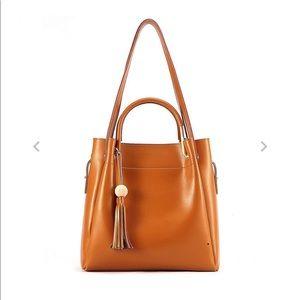 Kattee women's leather hobo tote shoulder bag tan
